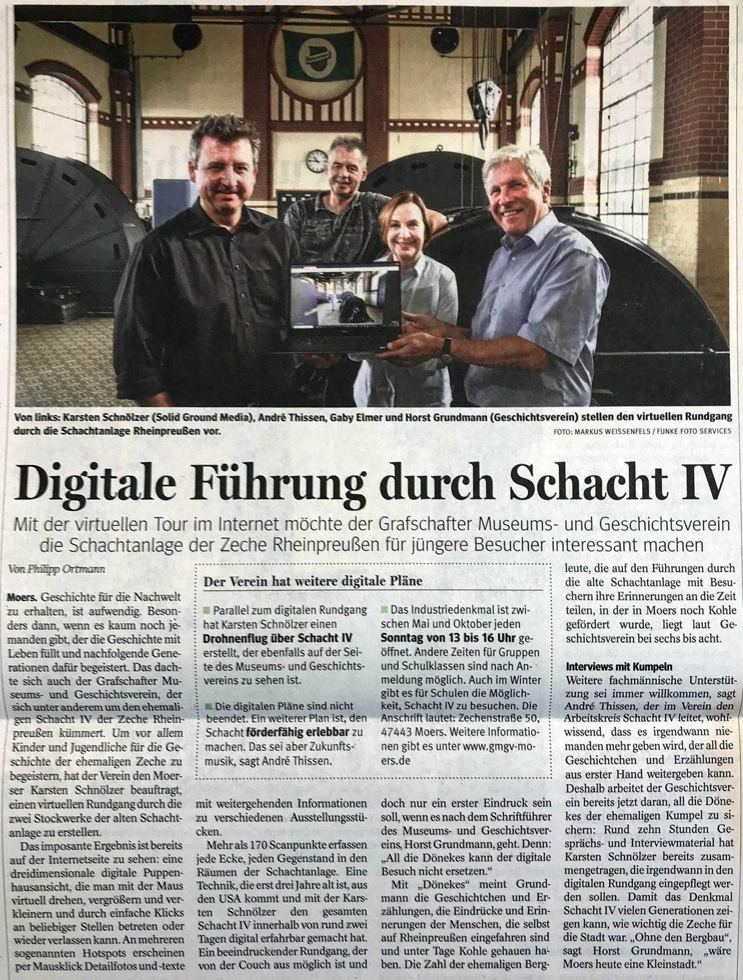 NRZ Presseartikel Schacht IV
