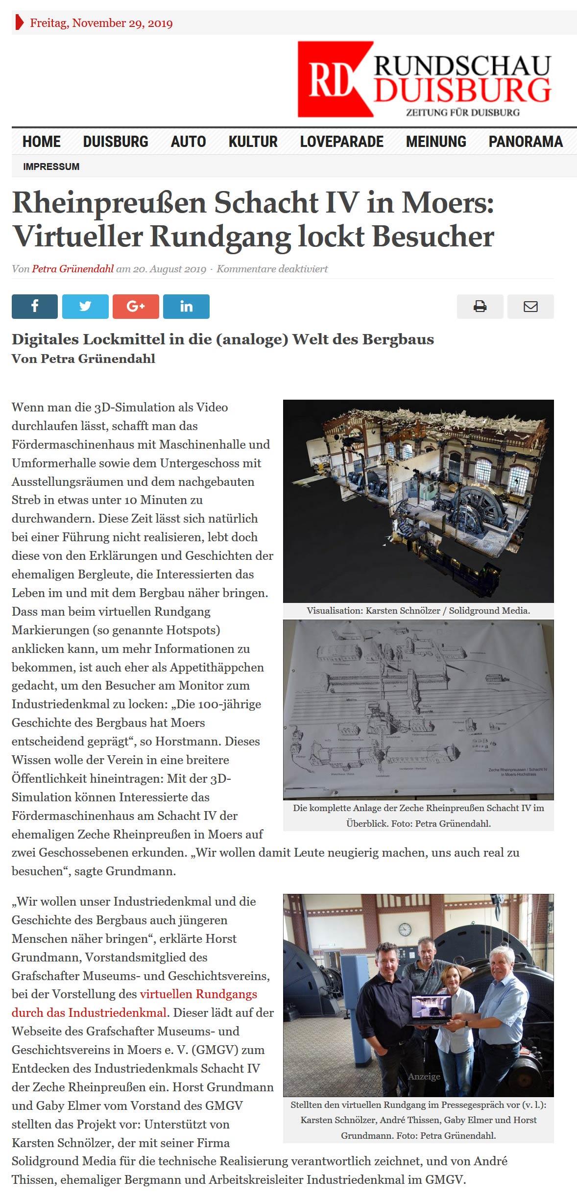 Presseartikel der Rundschau Duisburg