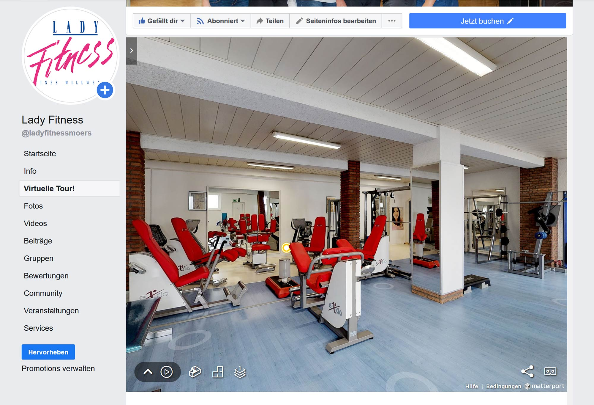 Lady Fitness virtual Tour Facebook